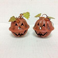 2 Halloween tree Metal Pumpkin Ornament Jingle Bell Rustic antique Orange Leaf
