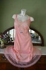 NEW! GORGEOUS! Vtg 50s Peach DuPont Nylon & Lace PLUS SIZE 48 Shadow Panel Slip!