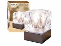 Anika Chrome & Glass Ice Cube Bright Halogen Lamp Table Bedside Touch Light