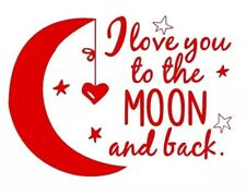 I LOVE YOU TO THE MOON AND BACK Wall Decal Childs Bedroom Nursery Hearts - Red