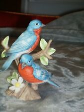 Homco Blue Birds Sitting On A Branch Porcelain Figurine # 1400 Great Condition