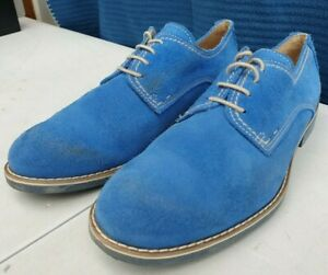 Zabal Blue Suede Laceup Leather Shoes Size UK 9 - Euro 43