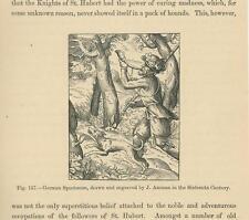 ANTIQUE GERMAN SPORTSMAN HUNTER HUNTING HORN GREYHOUND DOG SMALL OLD ART PRINT