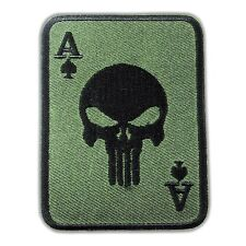 PUNISHER Ace of Spades Death Skull Cards Embroidered Iron On Patch Army Tactical