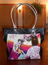 KATHY VAN ZEELAND BLACK POST CARDS TOTE-FASHIONISTA TRAVEL PRINT-RARE-BNWT