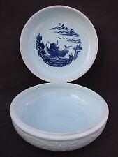 """10"""" Korean Korea Green Celadon Porcelain Lidded Bowl Box Flower Vine Blue Koi"""