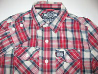 Superdry Men's Red Plaid Long Sleeve Insulated Heavy Wash Basket Shirt Size L