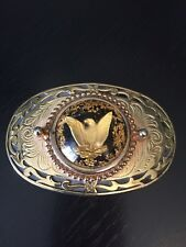 Eagle Belt Buckle with Gold Looking Shavings Gold Tone Body