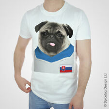 Slovakia Football Pug T-shirt Slovak Puppy Dog Tshirt Pugs 2016 European Tee