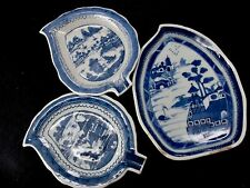 Antique 18th Century Chinese Export Blue Canton( 3)Three Leave Plates