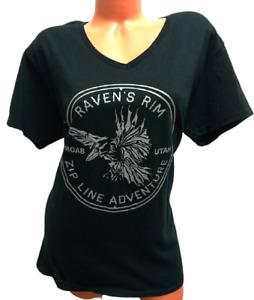 Gildan black raven's rim zip line adventure v neck short sleeve plus top 2XL