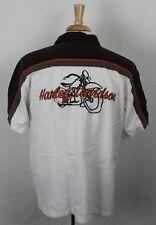 Harley-Davidson Embroidered Logo Linen/Cotton Short Sleeve Shirt White Mens XL