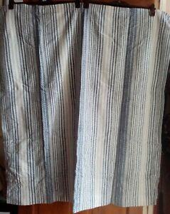 Pair of Curtains -114 cm Drop X 110 cm wide - Blue & White..
