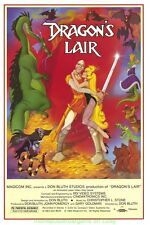 DRAGON'S LIAR 80's Game Promo POSTER 11x17 W Plastic Holder DON BLEUTH Animation