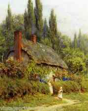 Old English Country Cottage Children Fowers 8x10 Print Vintage Scene Rural 096