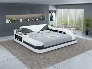 Multifunktions Bett Luxus Design Leder Betten Hotel Doppel Ablage Regal 180x200