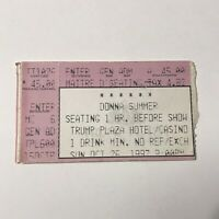 Donna Summer Trump Plaza Hotel And Casino Concert Ticket Stub Vintage Oct 1997
