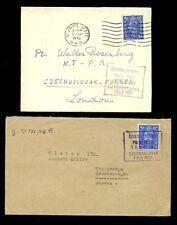 Checoslovaquia Ww2 campo Post en Gb 1942 En Caja datestamps comercial interior
