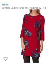 Joules UK 14 Red Beydale Tunic Dress 3/4 Sleeves Dark Red Peony Floral