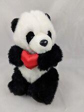 "Papel Freelance Panda Bear Plush 8"" Red Heart Stuffed Animal"