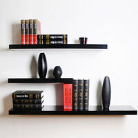 3 Pcs High Floating Wall Mounted Display Shelf Bookshelf Storage Holder-Black