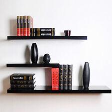 3 Pcs High Floating Wall Mounted Display Shelf Bookshelf Storage Holder-Black