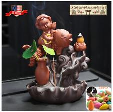 Ceramic Baby Fish & Lotus Backflow Incense Cone Burner Holder &20 Cones Free