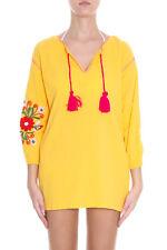 SENSI STUDIO embroidered crinkled-cotton COVER UP Kaftan Tunic Mini Dress SMALL