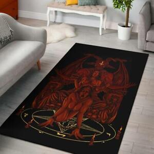 Skull Baphomet Serpent Satanic Pentagram Demon Inception Throne Area Rug Red