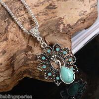 L/P:Boho Halskette mit Blume Pfau Anhänger Silberkette Türkis Blau Strass 47cm