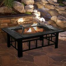 New listing 37 Inch Rectangular Fire Pit Set Powder-Coated Steel Frame Rust Resistant New