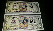 2 - 2009 Mickey Celebrate You DISNEY DOLLARS  $1 A Series Sequential