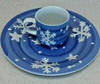 Vintage Gibson ~ Blue Snowflake China Dinner Plate and Tea Cup Replacement