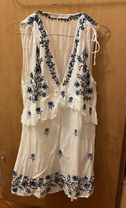 Zara White And Blue Linen Type embroidered Mini Dress Size Small