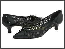 $335 NIB Stuart Weitzman Short Stuff Nappa Leather Perforated Pump Black Sz 7,5