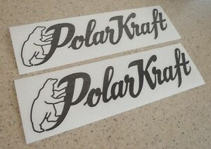 "PolarKraft Vintage Boat Decal Die Cut Black 12"" 2-PK FREE SHIP + FREE Fish Decal"