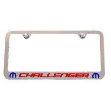 Mopar M Challenger Chrome License Plate Frame - Red & Blue Engraved Logo