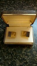 Vintage john weitz signed designer Cuff links men estate jewelry gold tone