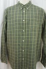 Field & Stream Mens Casual Shirt Sz S Green Plaided Buttoned Down Long Sleeve