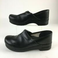 Dansko Cabrio Professional Slip On Clogs Womens 45 Black Leather Comfort Shoes