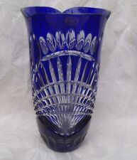 "AJKA HUNGARY CLARESTA COBALT BLUE CUT TO CLEAR CRYSTAL VASE 9 3/4"" FOIL NEW BOX"