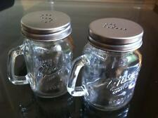 NOVELTY MASON JARS CLEAR GLASS SALT AND PEPPER POTS SHAKER SPRINKLE BOTTLES SET