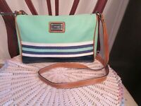 Nine West Aqua Green Navy Blue With Faux Leather Trim Cross Body Bag Excellent