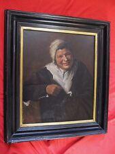 """Superbe huile sur toile  fin 19 é siécle """" portrait d'une paysanne au bonnet  """""""