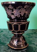 Moser Deep Amethyst Intaglio Engraved & Gold Grape Vine Goblet or Vase Rare 1900