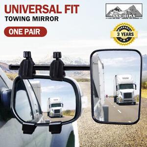 SAN HIMA Pair Towing Mirrors Universal Multi Fit Clamp On 4X4 Caravan Trailer