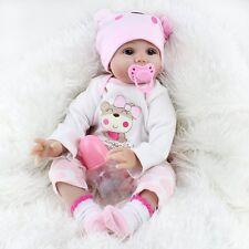 Reborn Baby Girl Dolls Realistic Soft Silicone Vinyl Baby 22'' Xmas Gift Toys