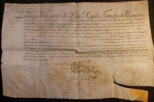 KING LOUIS XVI SIGNATURE - Patent Captain of Grenadiers Regiment Infantries 1777