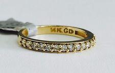 Solid 14K Yellow Gold Cubic Zirconia Wedding Band - Size 7 CZ Semi Eternity Ring