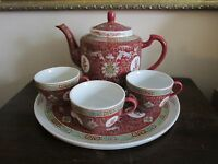 Vintage Chinese Export Porcelain Famille Rose Red Tea Set Tray Pot Three Cups